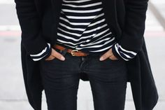 Jeans and stripes . . .