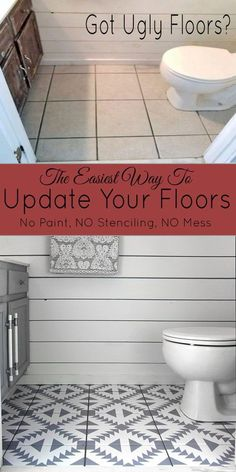 This is the easiest way ever to update your floors and it's not paint! This Diy Flooring Project Transformed our tile floor. diy bathroom Floor Stickers in The Bathroom! - The Honeycomb Home Inexpensive Flooring, Diy Flooring, Cheap Flooring Ideas Diy, Cheap Remodeling Ideas, Vinyl Tile Flooring, Home Remodeling Diy, Flooring Options, Kitchen Remodeling, Apartment Decoration