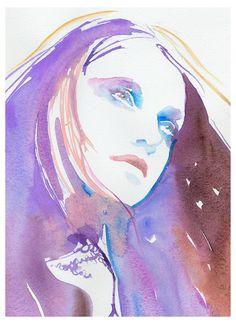 """Print of Watercolour Fashion Illustration. Titled - Winter lilac, by: SilverRidgeStudio""  [www.Etsy.com]"