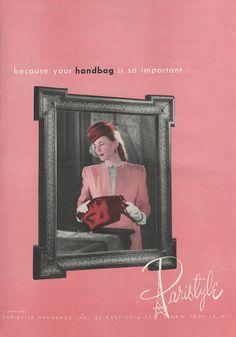 Anuncio publicitario de Paristyle Handbags Inc., publicado originalmente en   la revista Vogue, 1946, Estados Unidos.