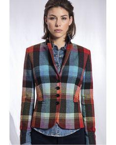 Check Jacket from Rofa Fashion clothing available from Irish Handcrafts, Fashion Group, Fashion Outfits, Womens Fashion, Jacket Style, Jacket Dress, Ireland Clothing, Irish Fashion, Blazer, Clothes For Women