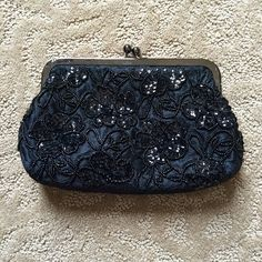 Beaded clutch Evening clutch with lace and beading. Color black. Used once, excellent condition. Has chain option. Preston & York Bags Clutches & Wristlets