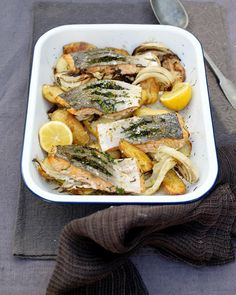 """""""recipe of the day is a brilliantly easy one-tray dinner Quick salmon and potato al forno. Stuffed salmon with fresh herbs, roasted fennel and spuds is a…"""""""
