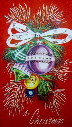 Vintage Christmas Ornaments. Retro Christmas Card. At Christmas. Glitter Card.