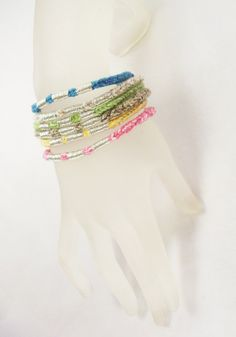 Recycled cotton Vrlika bracelets with silver thread embroidery and magnetic closure.
