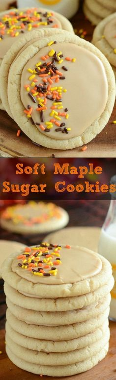 Soft Maple Sugar Cookies! These sweet and soft maple sugar cookies pack a double whammy with maple flavoring in the cookie as well as the icing - making them the perfect Fall dessert.