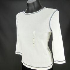 Lauren Ralph Lauren Petite PS Top White Black Cotton Knit Long Sleeve Shirt #LaurenRalphLauren #KnitTop #Casual