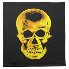 Golden Skull Printed Napkins #Skull #Halloween #Napkin