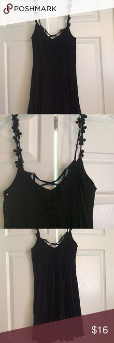 Urban Outfitters dress Black Urban Outfitters dress- worn once! Small lace up in the back with flowers as the straps. Flowly Urban Outfitters Dresses