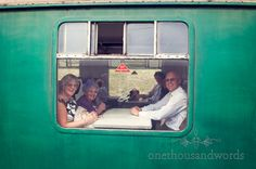 Wedding guests on Swanage steam train
