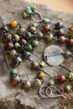 Rosary Style Faceted Czech Glass And Magnesite Necklace on Oxidized Copper