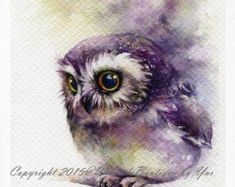 PRINT Rainbow Owl Watercolor painting 7.5 x 11 by WaysideBoutique