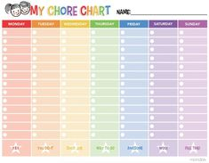 Looking for a Printable Chart For Chores. We have Printable Chart For Chores and the other about Printable Chart it free. Teen Chore Chart, Daily Chore Charts, Chore Chart For Toddlers, Chore List For Kids, Free Printable Chore Charts, Chore Chart Template, Reward Chart Kids, Charts For Kids, Rewards Chart