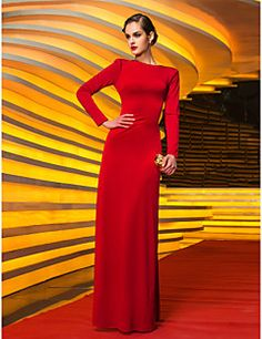 TS Couture Formal Evening Military Ball Dress - Vintage Inspired Celebrity Style Sheath / Column Jewel Floor-length Jersey with Pleats – CAD $ 396.15