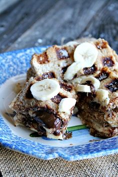 Nutella, Peanut Butter, and Banana stuffed French Toast Waffles - Heather's French Press