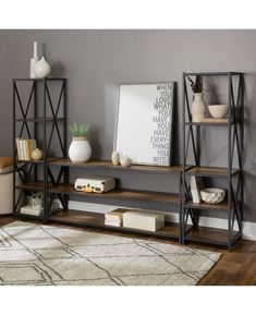 3 Piece Industrial Bookcase Set