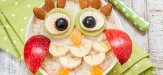 Papas de aveia divertidas - Auchan&Eu Kiwi, Banana, Fruit Salad, Watermelon, Japanese, Ethnic Recipes, Food, Edible Art, Owls
