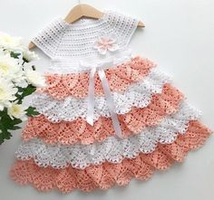 Crochet baby dress, Baby Girl Outfit, Party Dress Excited to share this item from my shop: Crochet beautiful baby dress, peach party dress, Baby girl dress Crochet Baby Dress Pattern, Knit Baby Dress, Crochet Baby Clothes, Vestidos Bebe Crochet, Baby Dress Tutorials, Baby Girl Gift Sets, Peach Party, Baby Girl Party Dresses, Dress Party