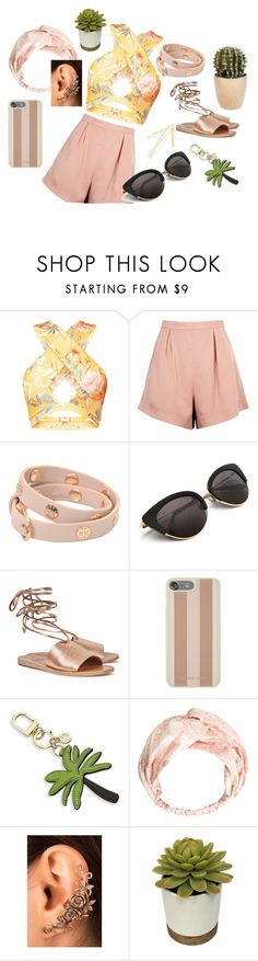 """Burnished Florals"" by mgirldot ❤ liked on Polyvore featuring Finders Keepers, Tory Burch, Ancient Greek Sandals, Michael Kors, MANGO, simple, floral, Flowers and Cactus"
