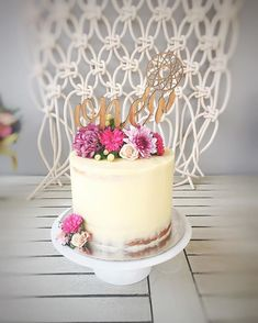 Boho birthday cake @merrymakerandco topper: @_etched #bohobaby perth cakes florals seminakedcake boho birthday macrame wild one first birthday boho baby perth