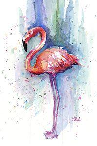Abstract Painting - Pink Flamingo Watercolor by Olga Shvartsur
