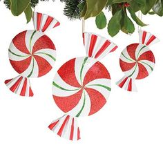 "Assorted Tin Peppermint Christmas Ornaments Set of 3    Hand Painted  Red, White, Green  Tin  Assorted sizes  Set includes one of each size.  10""H X 6""W X 1 1/2""D. 5 3/4""H X 3 1/2""W"