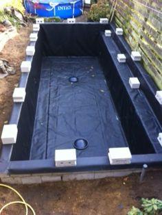 koivijver met plantenfilter 2 Bodemdrains  PVC vijverfolie 1mm dik gelast door GJ Folietechniek