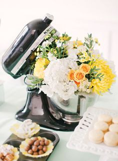 Gorgeous Minty Fresh Kitchen Themed Bridal Shower Kitchenaid Centerpiece (so clever) - so sweet as a centerpiece for a bridal shower. Maybe a recipe bridal shower! Floral Centerpieces, Flower Arrangements, Wedding Shower Centerpieces, Centerpiece Ideas, Kitchen Shower, Kitchen Themes, Kitchen Ideas, Kitchen Decor, Couple Shower