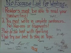 Our classroom agreements for writing :)