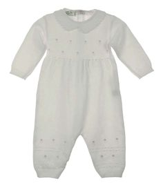 NEW Feltman Brothers White Cotton Knit Romper with Rosebud Embroidery $65.00