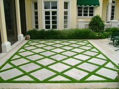 New Cement Patio Landscaping Grass Ideas Grass Pavers, No Grass Backyard, Backyard Patio Designs, Backyard Ideas, Patio Ideas, Pavers Ideas, Backyard House, Back Yard Paver Ideas, Driveway Ideas