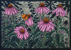 Echinacea flower 35 x 50 cm Edition of 50 Hand coloured linocut on handmade Japanese paper $850