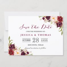 Burgundy Marsala Floral Chic Wedding Save the Date Burgundy Wedding Invitations, Save The Date Invitations, Wedding Invitation Cards, Save The Date Cards, Bridal Shower Invitations, Wedding Cards, Invites, Invitation Suite, Wedding Envelopes
