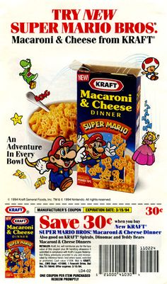 Kraft Super Mario Bros. Macaroni and Cheese flier flyer Advertisement 1994