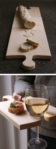 Puzzle piece cutting boards.. It should be really easy to make using a scroll saw. I must try it! :)