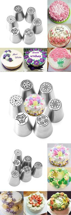 US$6.99 6pcs DIY Flower Pastry Cake Icing Piping Nozzles Decorating Tips Baking Tools Cupcake Bakeware