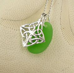 Sterling Silver GENUINE  Kelly Green Sea Glass by seaglassgems4you, $42.00