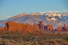 Close up of the La Sal Mountains from Balanced Rock Utah
