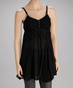 Take a look at this Black Silk-Blend Tunic by Pretty Angel on #zulily today!
