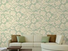 """Self adhesive wallpaper """"VINTAGE GREEN"""", quality vinyl wall sticker with repeatable seamless pattern design for bedroom, living room Modern Wallpaper, Vinyl Wallpaper, Self Adhesive Wallpaper, Adhesive Vinyl, Kids Wall Decals, Vinyl Wall Stickers, Wall Collage Picture Frames, Bedroom Reading Nooks, Khadra"""