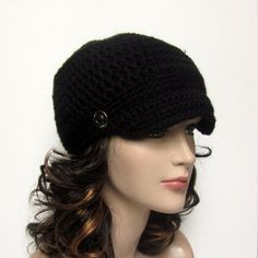 Black Cadet Hat - Womens Crochet Military Cap with Metal Buttons - Spring Fashion on Etsy, $22.00