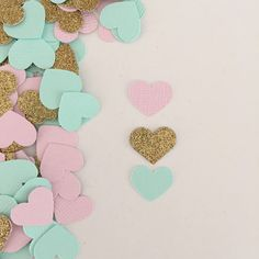 Blush Pink, Mint Green and Gold Glitter Heart Confetti  Baby Shower, Bridal Brunch or Wedding Confetti  Light Pink, Aqua and Gold   by WildfireEvents
