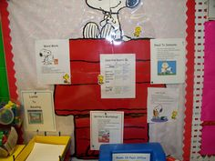 Classroom decor--Cool idea, Ms. Houston......Snoopy reading workshop board for snoopy classroom