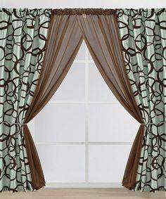 Another great find on #zulily! Chocolate & Blue Medina Flocked Curtain Panel Set #zulilyfinds