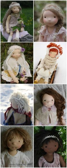 Discussing doll hair: Mostly pictured here is Suri Alpaca fiber, machine-sewn together to create a weft, then hand-sewn to the doll's head (via fig and me).