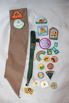 Vintage Collection of Brownie and Girl Scout Items Inc. Sash, Badges, Pin, Belt by ilovevintagestuff on Etsy