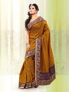 Mustard Yellow Bhagalpuri Jacquard Silk Saree With Stone Work