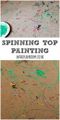 Spinning Top Painting - In The Playroom Spinning top painting action art process art activity for kids School Age Activities, Art Activities For Kids, Toddler Activities, Art For Kids, Activity Ideas, Craft Ideas, Toddler Art, Toddler Crafts, Crafts For Kids