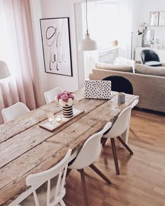 Possible longer table next to long straight kitchen? Cute Living Room, Living Room Decor, Apartment Living, Apartment Therapy, Living Room Designs, Living Spaces, Interior Decorating, Interior Design, Bohemian Living