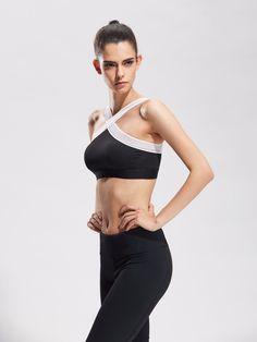 a05c73d23e Women Sexy Sports Bras Quick Dry Gym Criss Cross Mesh Patchwork Top  Training Running Fitness Yoga Bra Black white